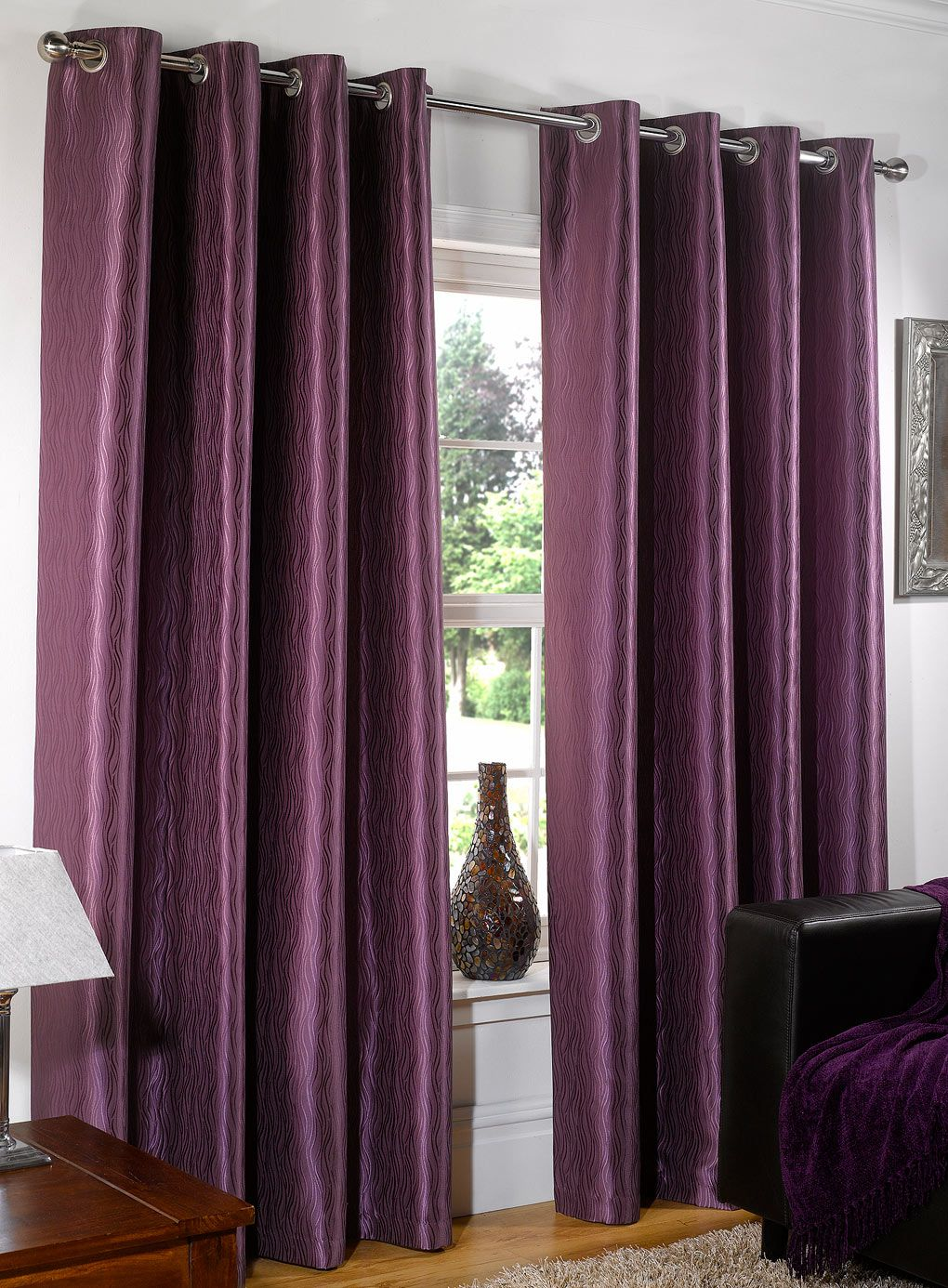 Wonderful Purple Bedroom Curtain Ideas Part - 13: 15 Beautiful Bedroom Designs With Purple Curtain : Gorgeous Purple Bedroom  Curtain In Awesome Bedroom Decor With White Shade Table Lamp And Black  Leather ...