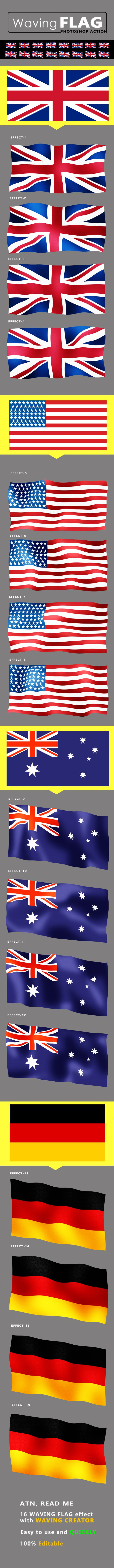 Easy To Use And Quickly Atn Read Me File 16 Waving Flag Effect With Waving Flag Creator Effect Used Smart Objec Flag Creator Retro Poster Photoshop Photos