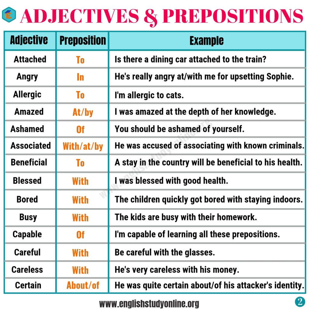 Collocation Examples Adjectives Prepositions English Study