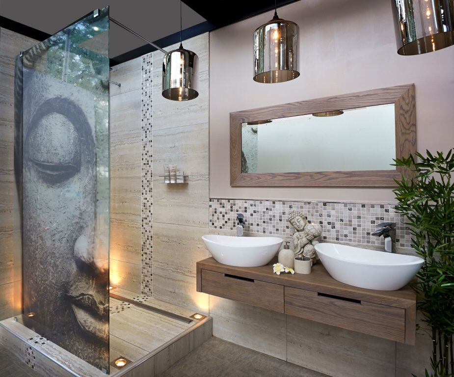 Asian Master Bathroom With Floating Vanity, Shower Screen By Bathroom  Bizarre, Kingston Brass Oval