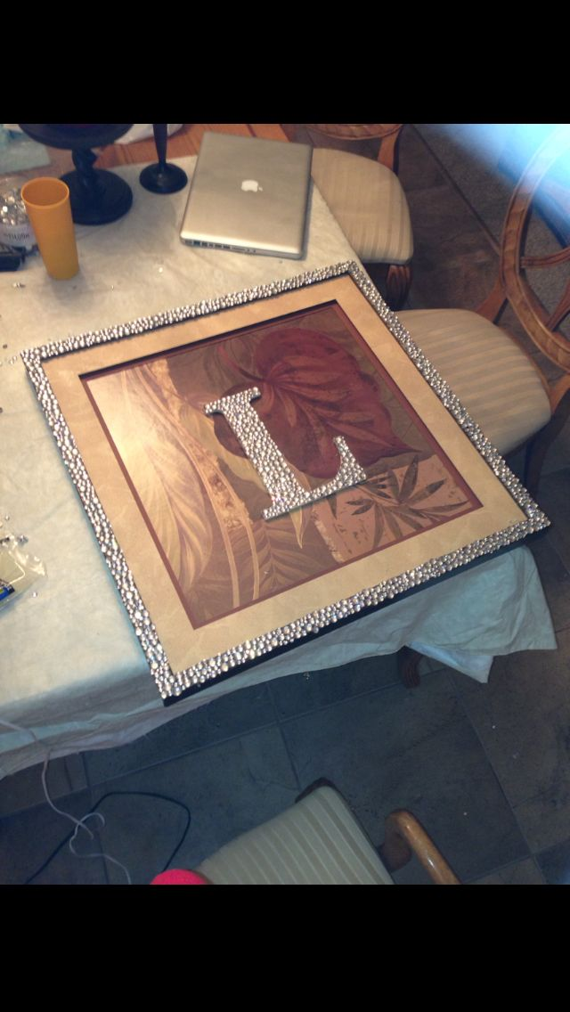Found this picture frame. Added the bedazzled L and bedazzled the ...