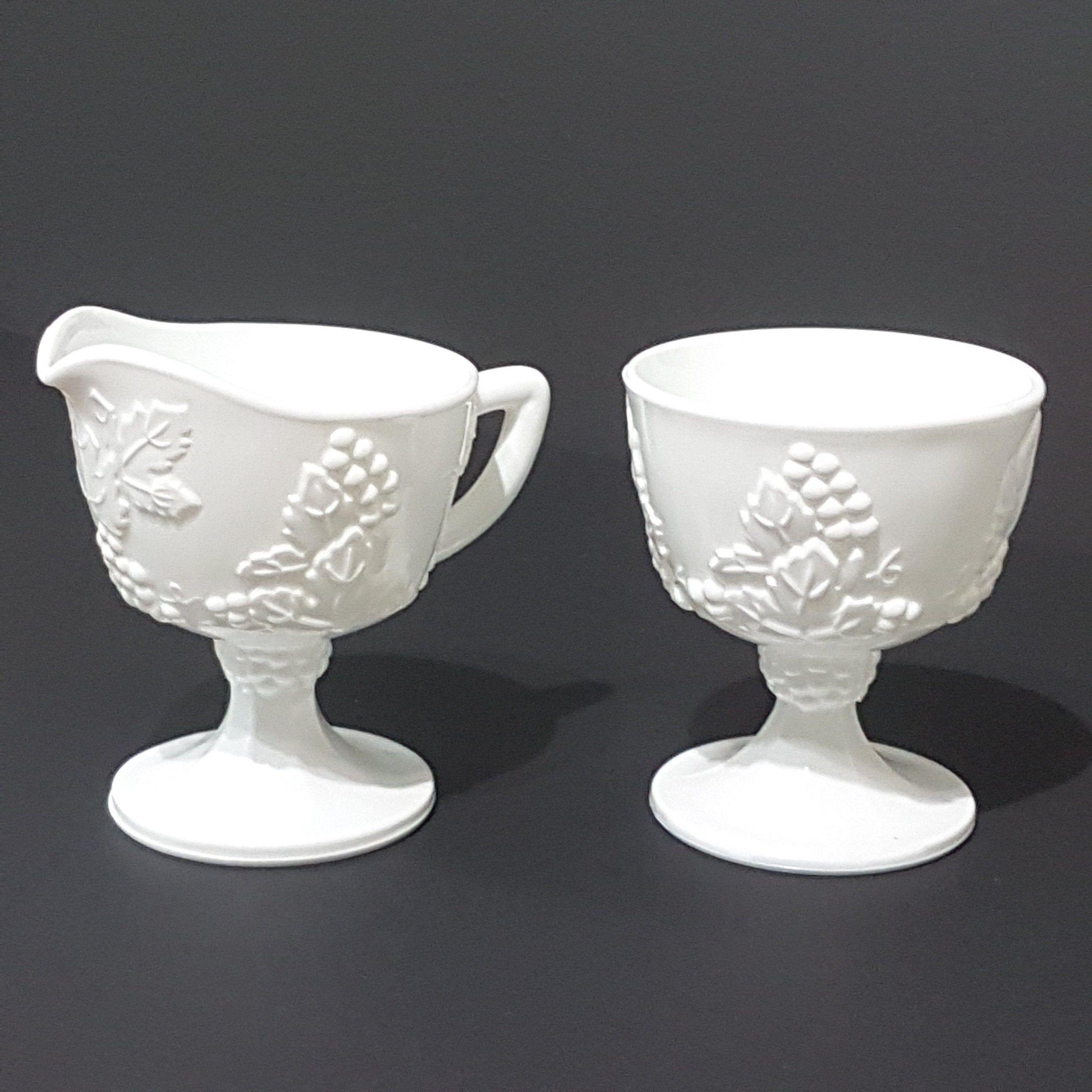 Vintage Milk Glass Sugar /& Creamer Set with Grape Vine Pattern Painted