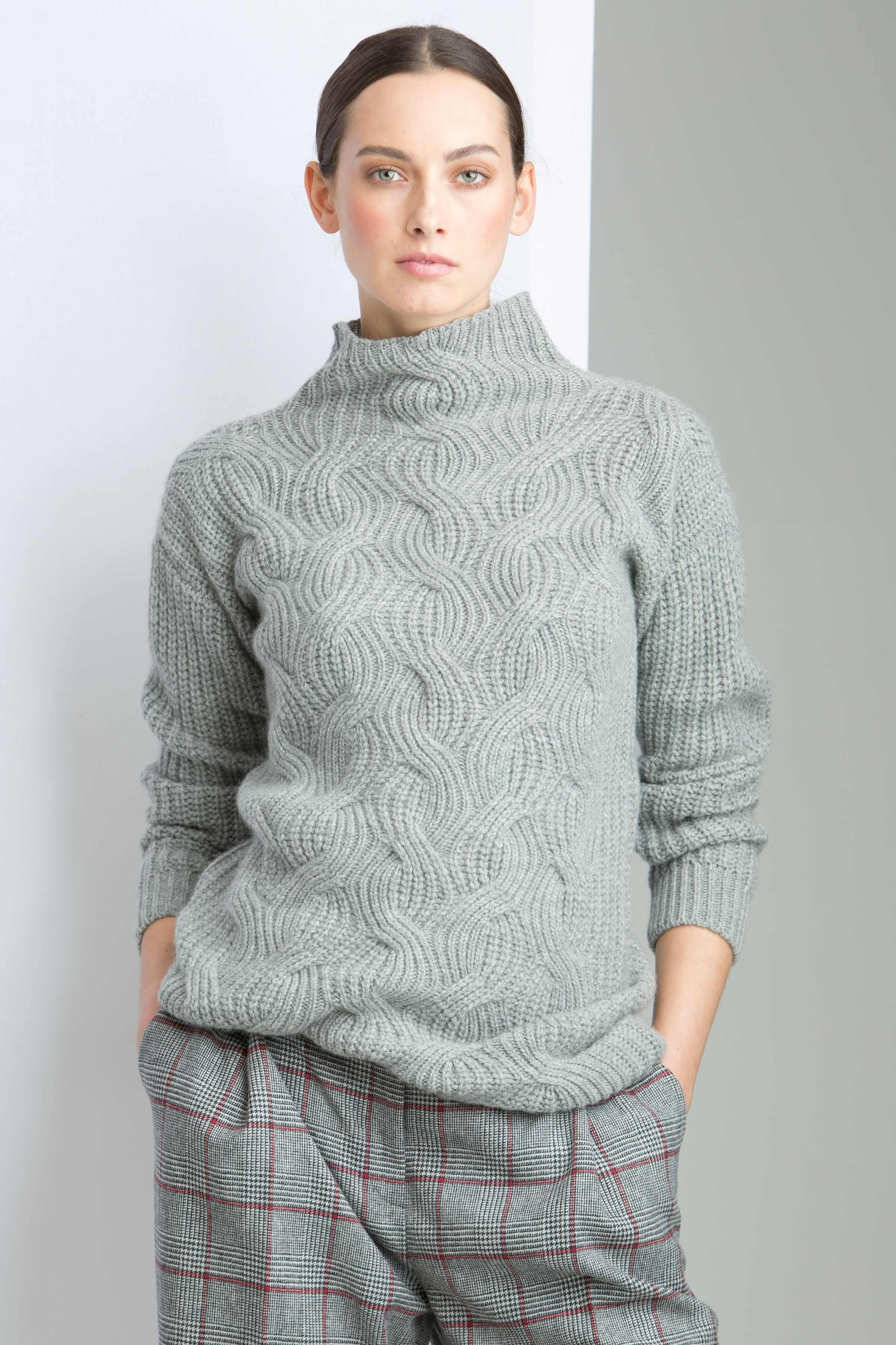 f5a10079822bf8 Cashmere rib and cable with integral turtle neck in a wardrobe staple of  light grey - made in Scotland by Johnstons of Elgin. Our cable front piece  showcase ...