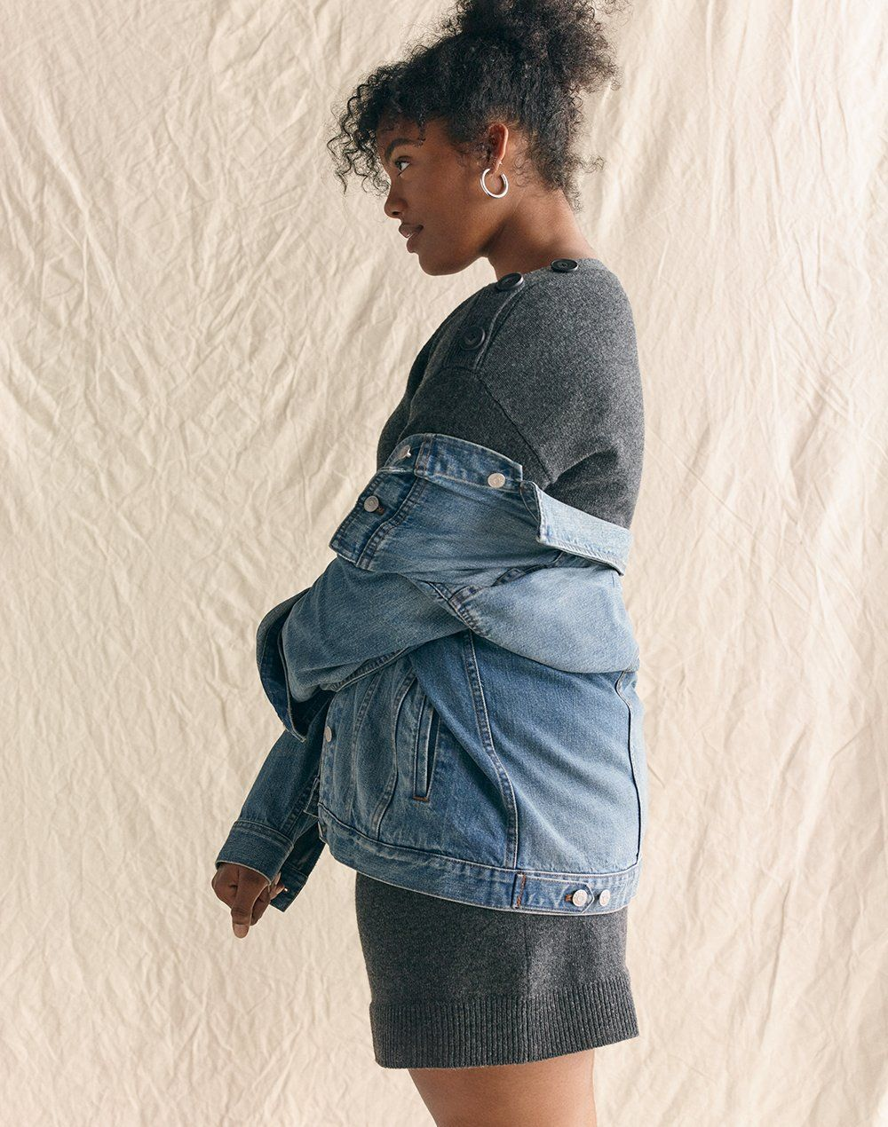 c14a842738f2c madewell oversized jean jacket worn with boatneck button-shoulder  sweater-dress + chunky medium hoop earrings.