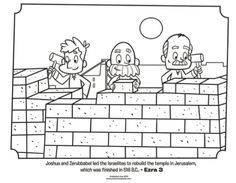 Kids Coloring Page From Whats In The Bible Featuring Israelites Rebuilding Jerusalem Ezra 3 Volume 7 Exile And Return