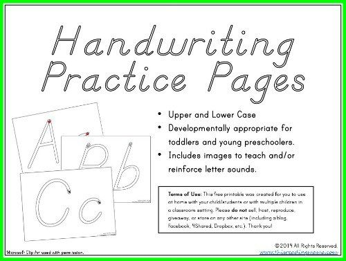 Handwriting Practice Pages For The Young Child Ot