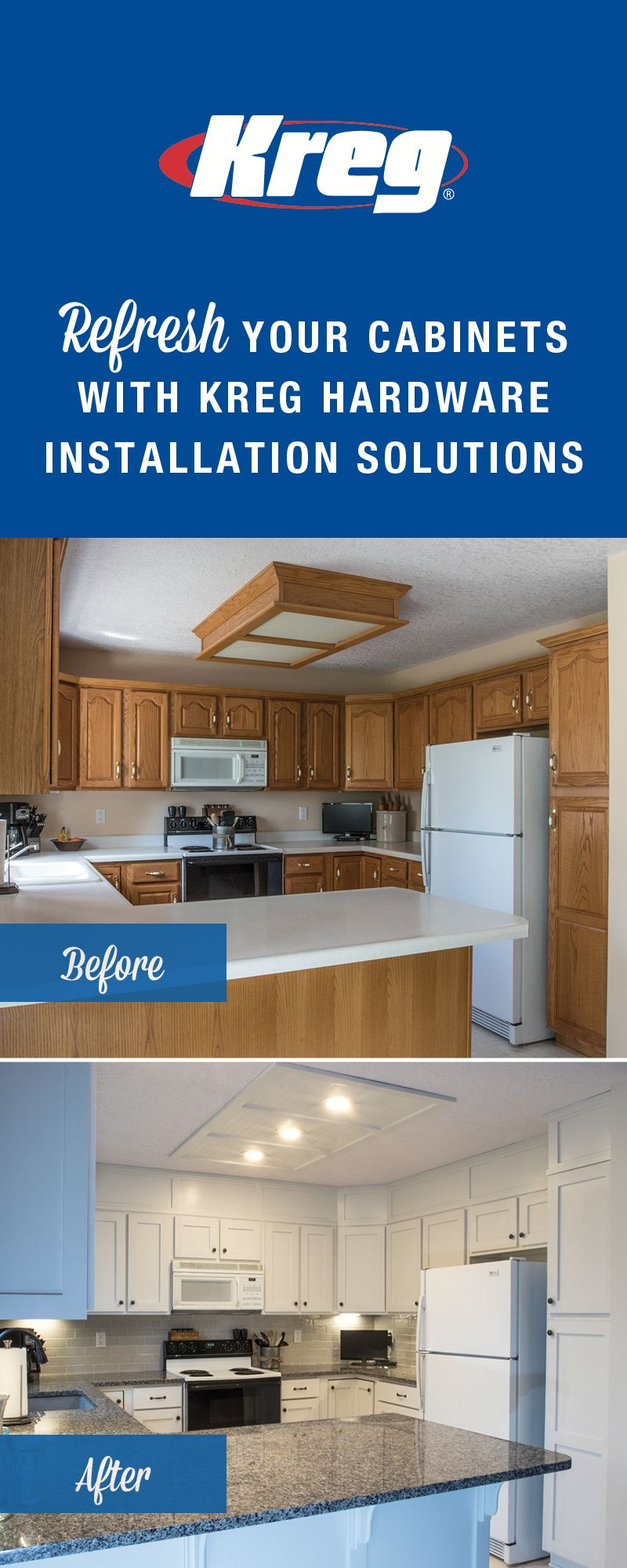 Transform Your Cabinets With Kreg Hardware Installation Solutions They Make It Easy By Allowing You To Conf Kreg Jig Projects Adjustable Shelving Kitchen Redo