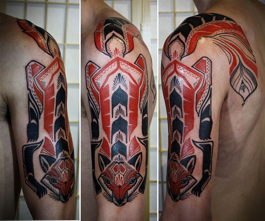 great tattoo work by David Hale Strong Northwest American Indian art influence