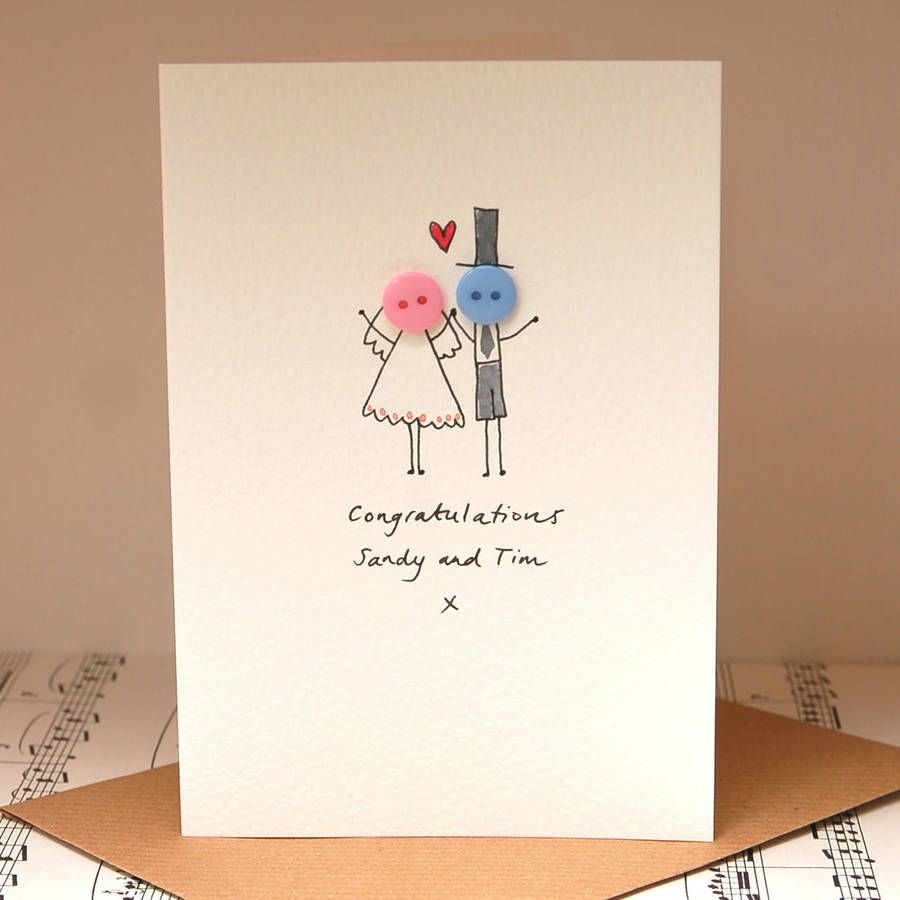 words to write in wedding shower card%0A Personalised  u    Button Wedding u     Hand Illustrated Card