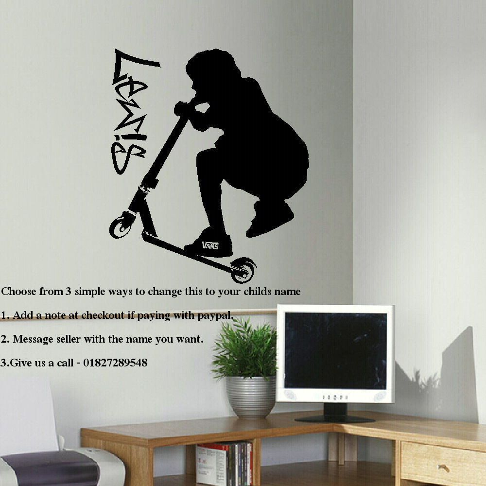 Details about LARGE PERSONALISED STUNT SCOOTER TEENAGE BEDROOM WALL ART  STICKER TRANSFER DECAL