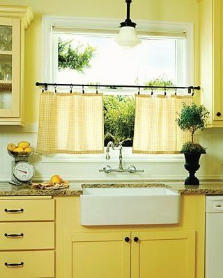 Rubbed Bronze Rod And Curtain Rings For Kitchen. Yellow Curtains Maybe Half  Curtains