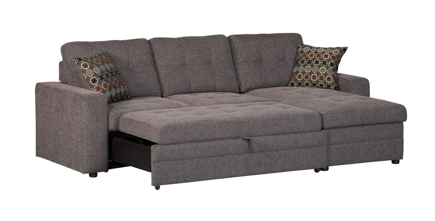 Gus Grey Sleeper Sectional Sofa with bed and Storage Chaise