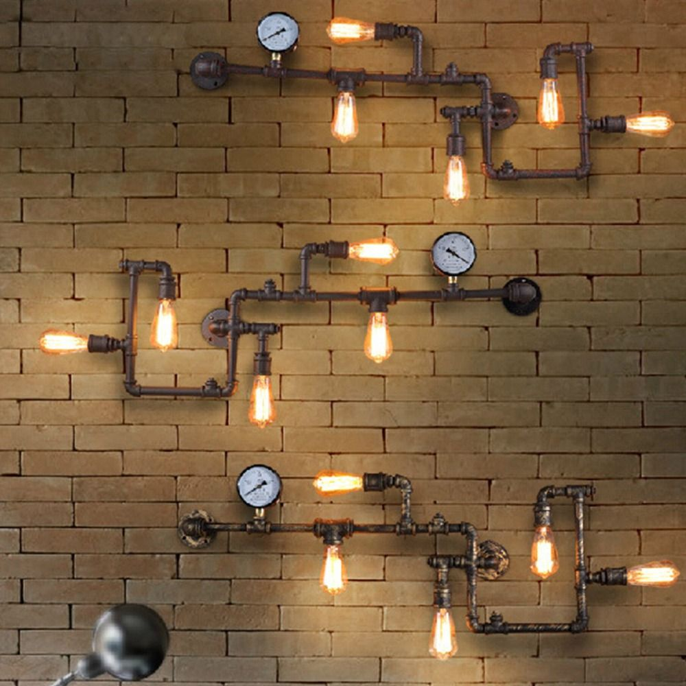 Vintage Steampunk Pipe Bar Wall Lamp Industrial Rustic Loft Wall Fixture Fitting Bedroom Wall