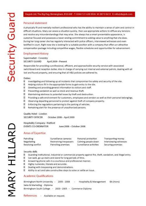Security Guard Resume Template  Security Guard Cover Letter