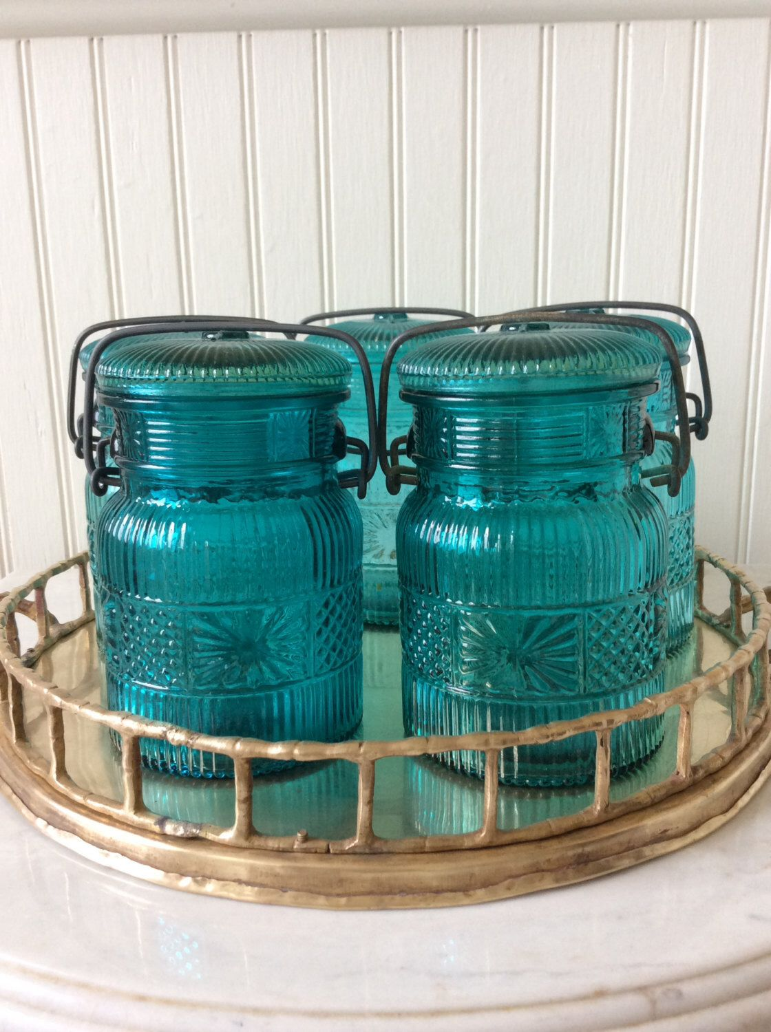 Vintage Avon, Aqua Blue Glass, Canning Jar, Replica Storage Jar ...