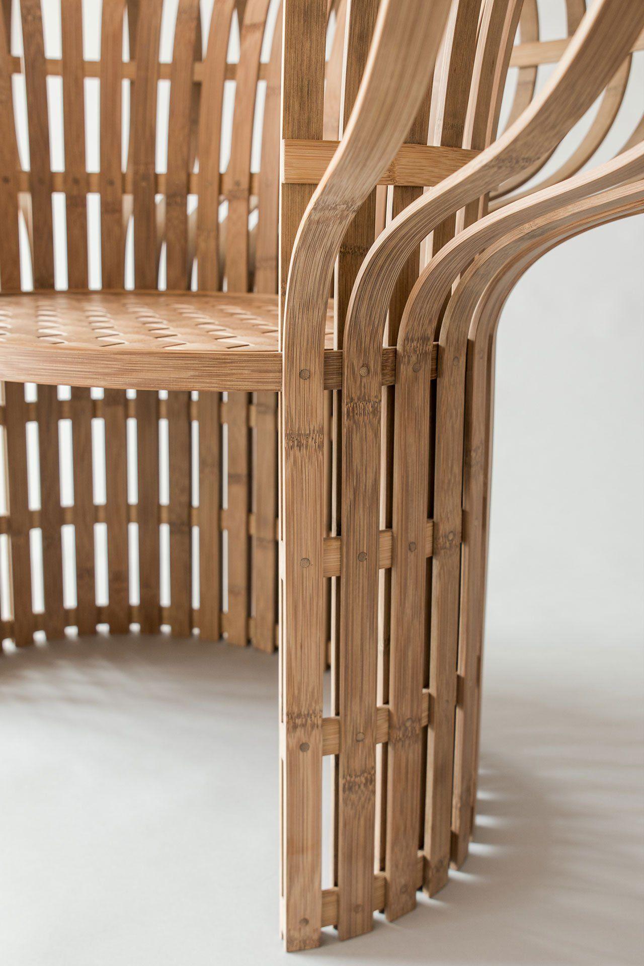 The Indigo-Dyed Bamboo Chair, designed byJin Kuramoto(Japan).Craftsmen : Lin, Jian Cheng (Taiwan), Tang, Wen-Chun (Taiwan).Photo by Maciej Korbas (Poland) / Courtesy NTCRI & Taiwan Designers Web.