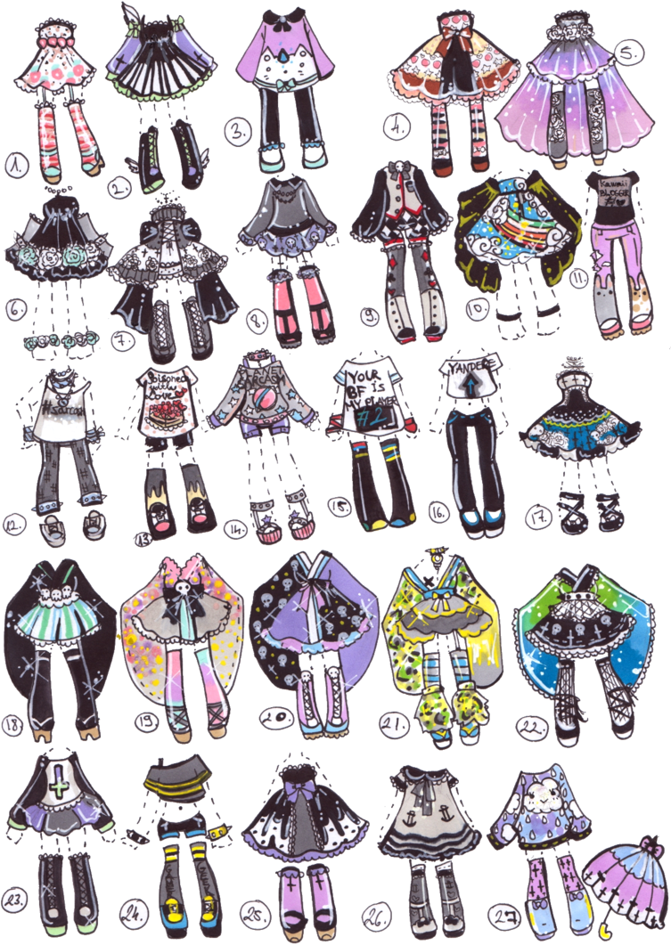 Mixed Outfit Batch Because All Of Our Ocs Have Different Taste In Clothes No Payment Plans