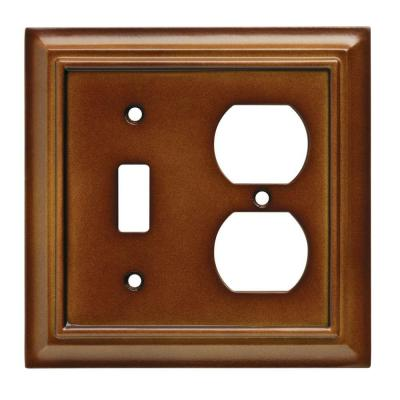 Hampton Bay Brown 2 Gang 1 Toggle 1 Duplex Wall Plate 1 Pack W10770 Sdl Ch Plates On Wall Outlet Covers Wood