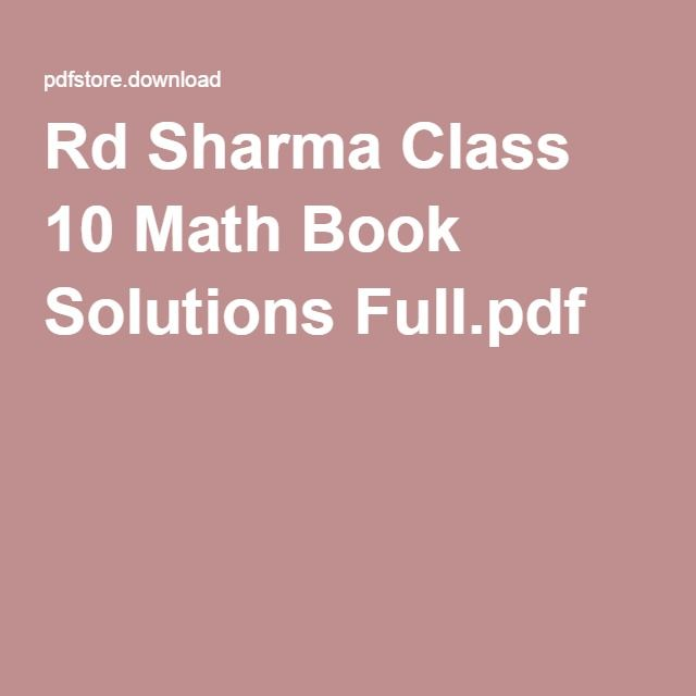 Sharma class full pdf book 10 rd