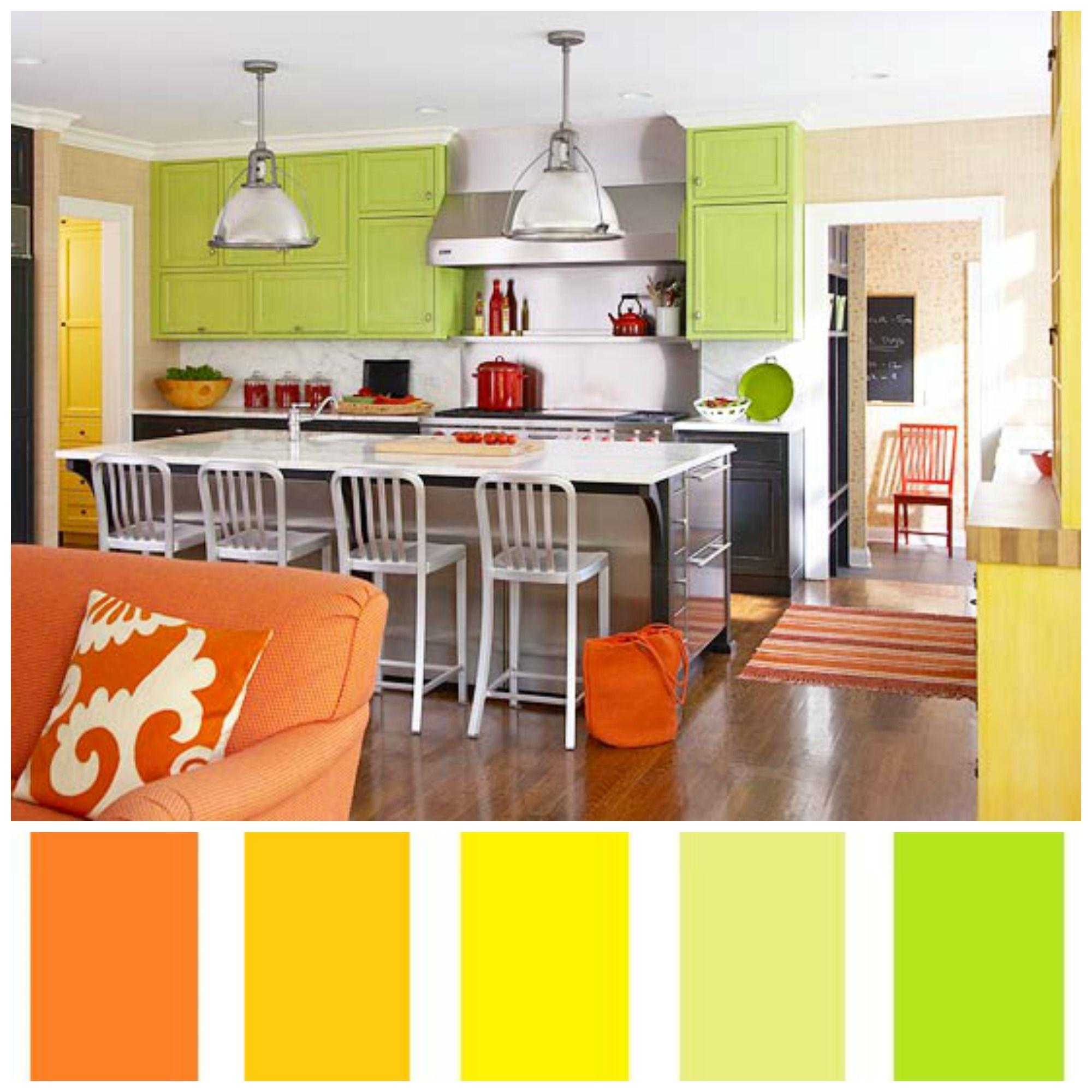 Modern Kitchen Analogous Kitchen Inspirational Orange Coloured