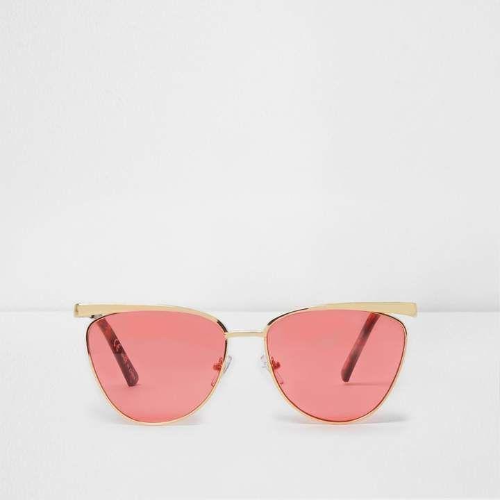 Womens Gold tone visor aviator pink lens sunglasses River Island Offer With Mastercard lzOjkefMQ