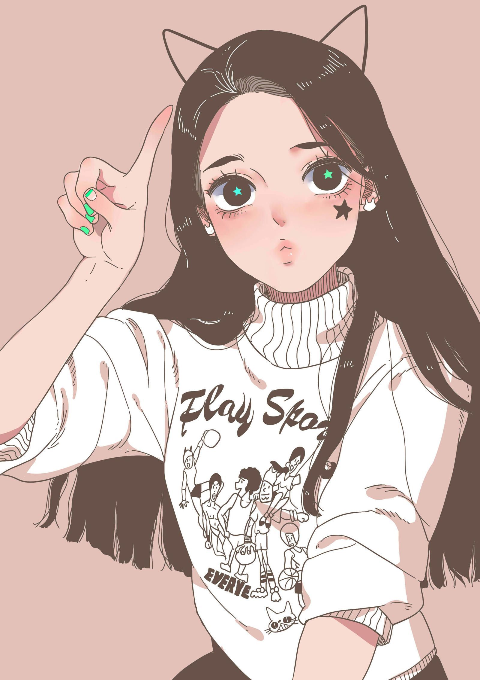 Prettymask Anime Art Girl Cartoon Art Cute Art