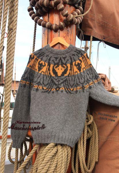 "Island-Pullover ""Crimson Bull"" Hellgrau von Karmesines Maschenspiele auf DaWanda.com"