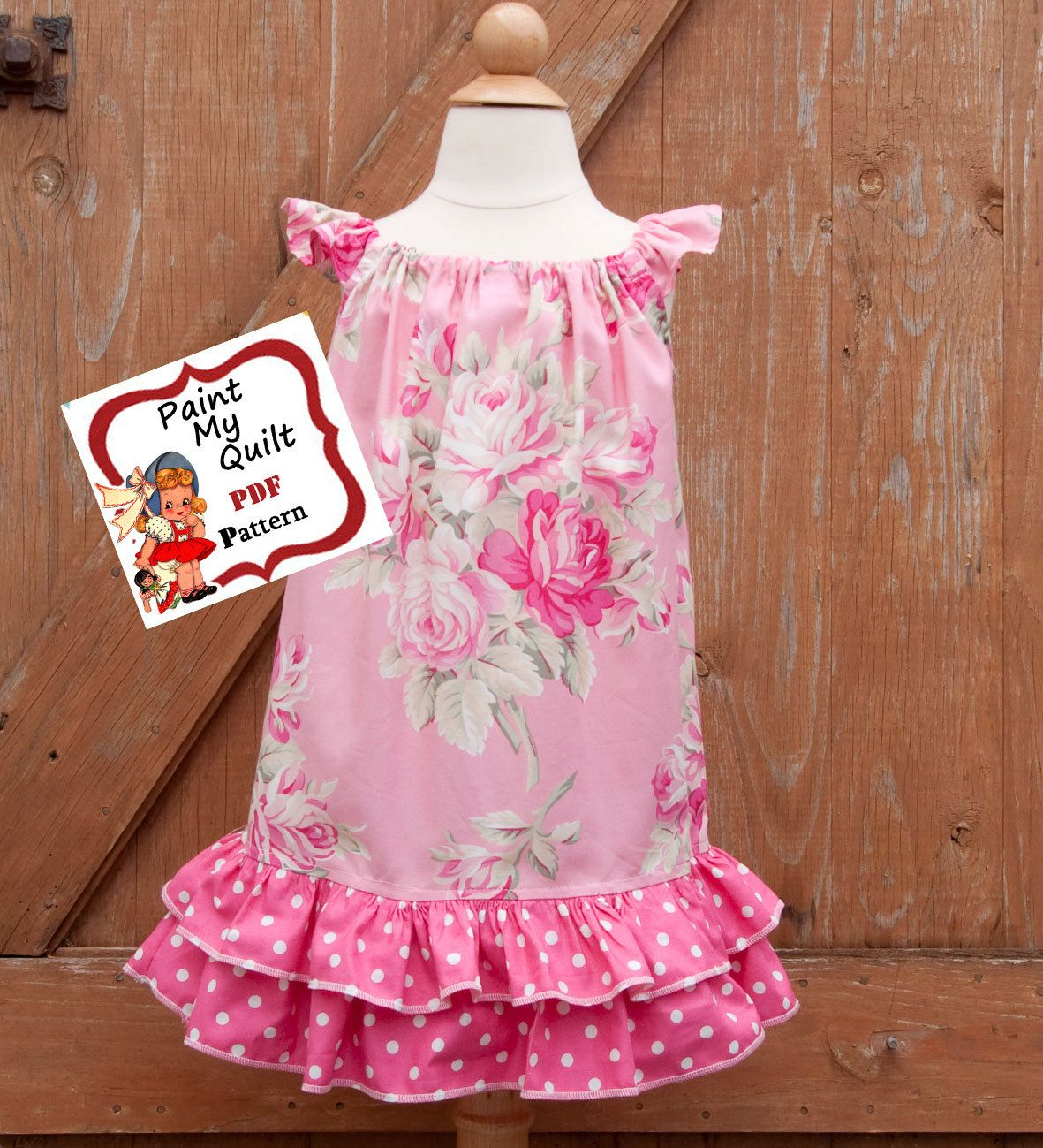INSTANT DOWNLOAD Girls Dress Pattern PDF Pillow Case Dress Sewing ...