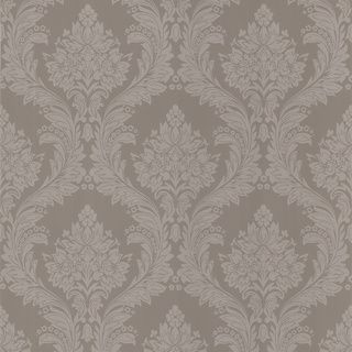Brewster Taupe Damask Wallpaper