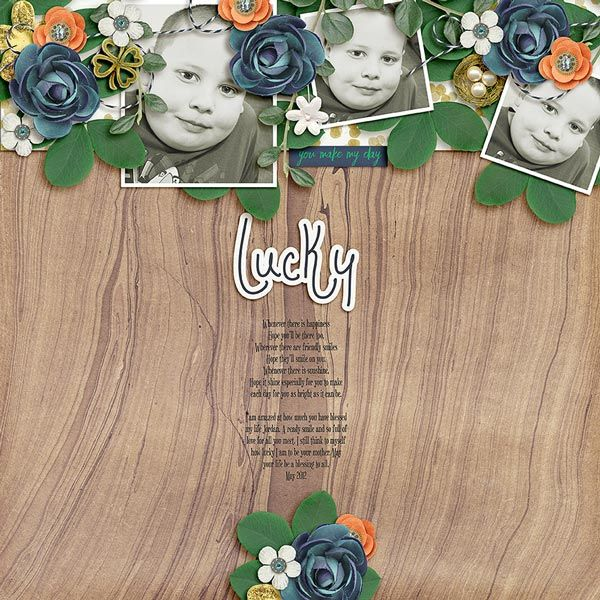 Lucky layout using Lucky Charm kit by Dream Big Designs http://www.sweetshoppedesigns.com/sw...at=&page=1