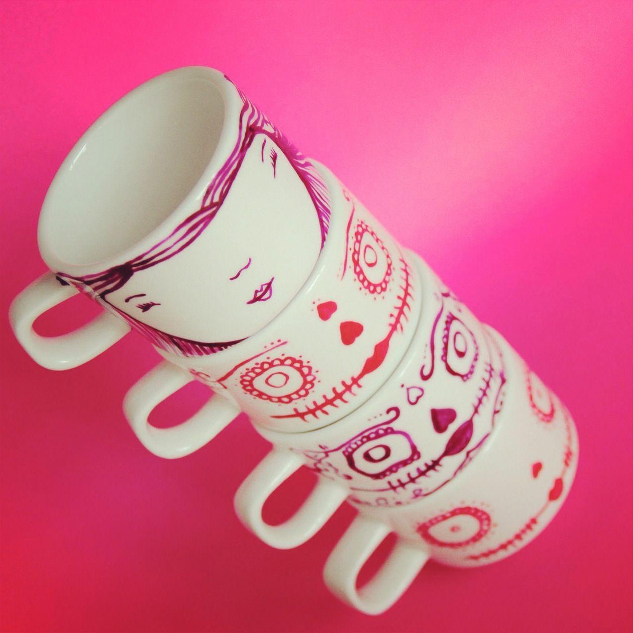 Cups tazas pintadas a mano Dayoco