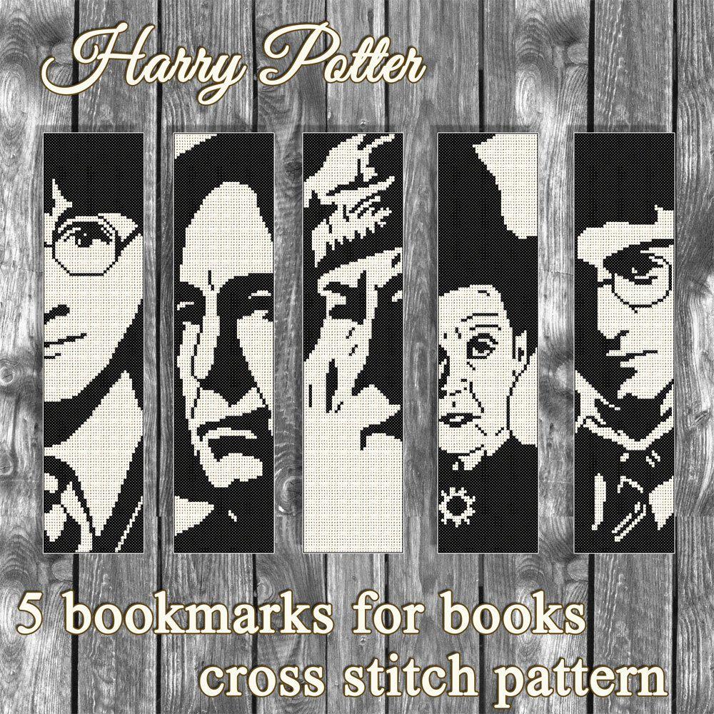 Buy 2 get 1 free. Harry Potter 5 bookmarks Cross stitch pattern ...
