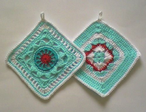 """These are in my Dawn Treader colors! Just the right amount of red, too. From Jan Eaton book"""" 200 crochet blocks for blankets, throws and afghans."""""""