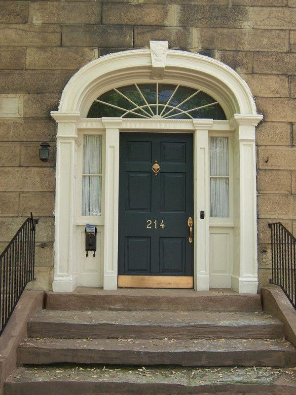 Wondrous Steel Entry Door And Frame Using White Wood Trim With Arched Jambs Also Sidelight Glass Window Film Towar Black Front Doors Exterior Doors Door Design