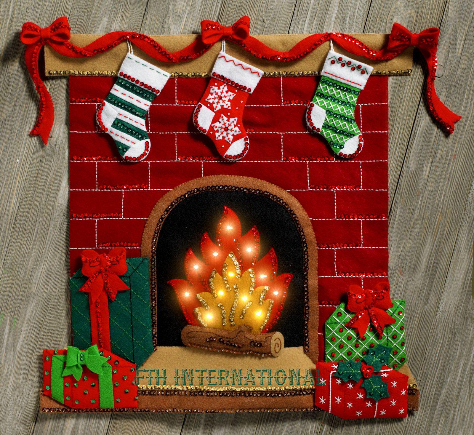 Bucilla Fireside Glow Felt Christmas Wall Hanging Kit