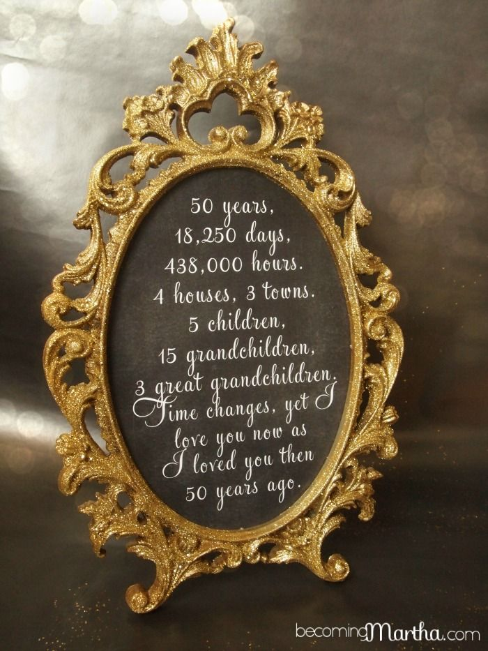 Gold and Glittered Frame and Print - 50th Anniversary Party Decor ...