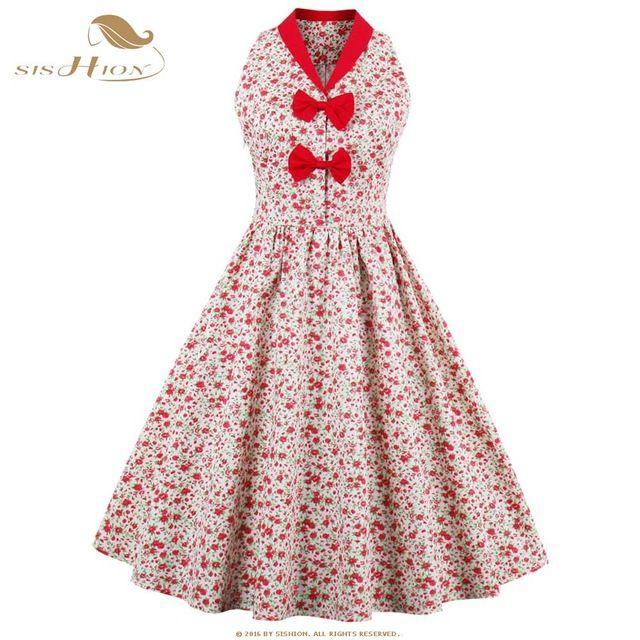 SISHION New Little Red Flower Print Floral Summer Beach Dress Sleeveless Bow Hepburn 50s Pin Up Vintage Dress Plus Size VD0559