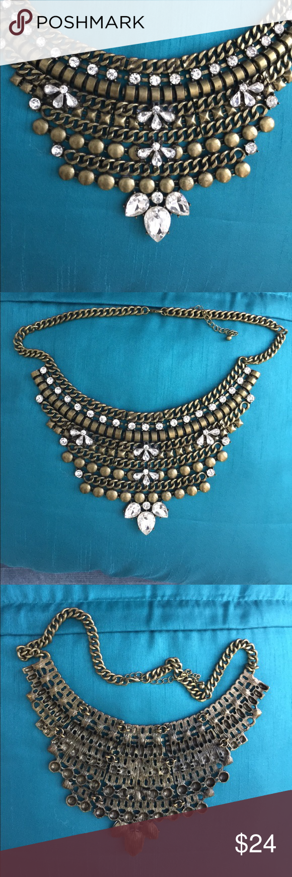 Egyptian necklace fashion costume jewelry Striking jeweled statement collar necklace with large rhinestones and brass tone adjustable length chain 12 inch chain with a 3 inch extension. Pictures tells all. Also great for prom. Fashion jewelry Jewelry Necklaces