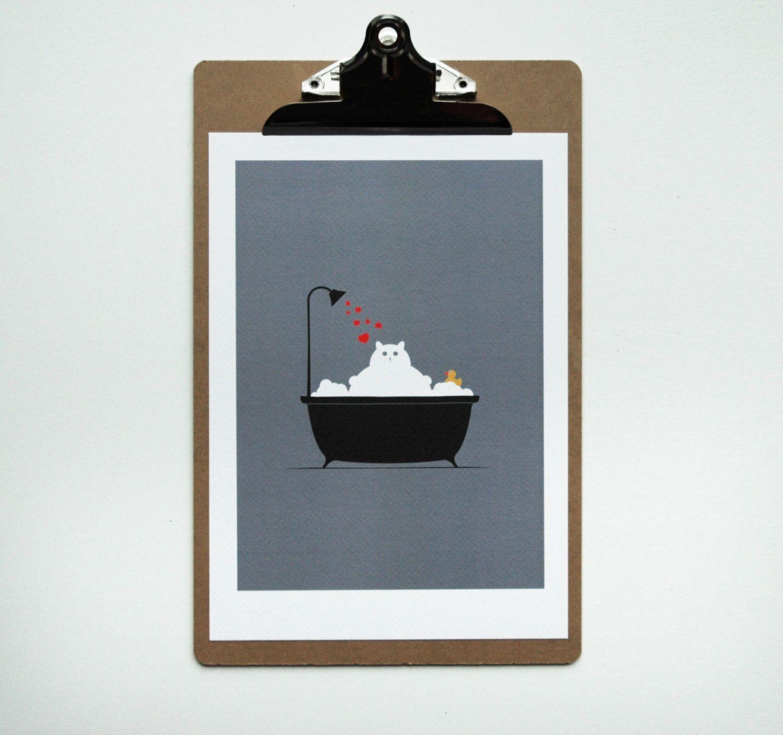 Bathroom Decor Cat Lover Gift Cute Art Wall
