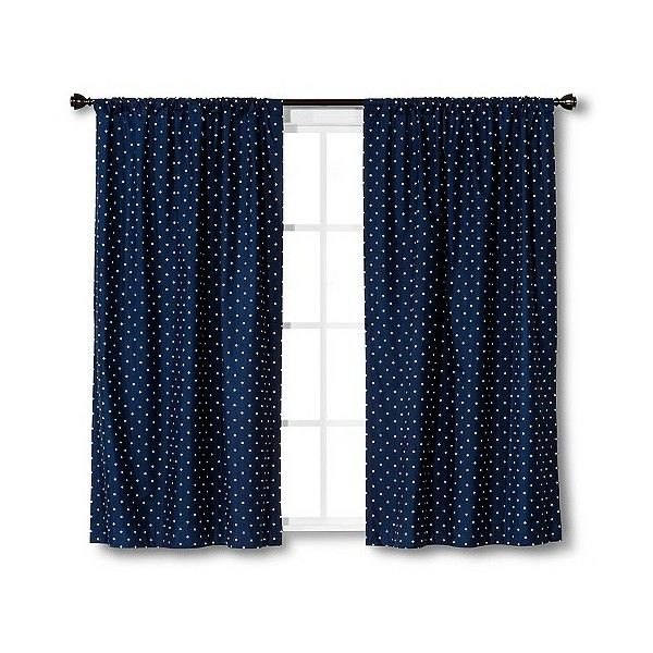 Circo Curtain Panel Dots   Navy ($19) ❤ Liked On Polyvore Featuring Home,