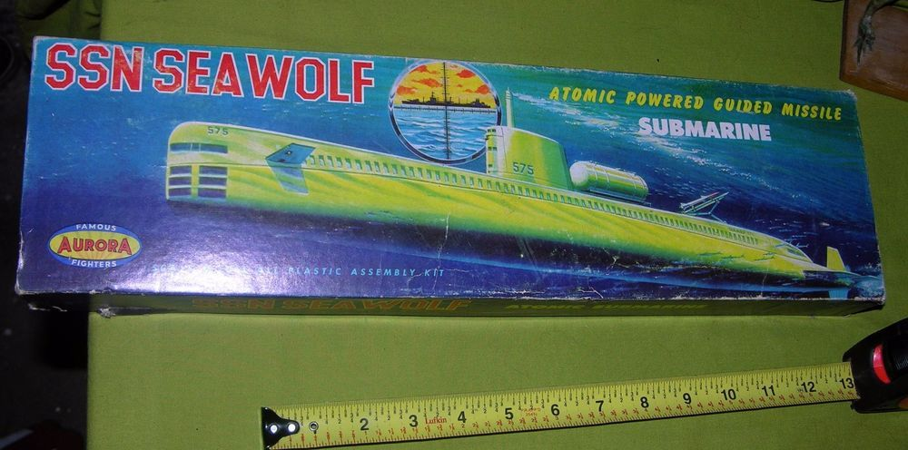 Vintage Aurora Ssn Seawolf Atomic Submarine Model Kit Assembled With Box 1957 Aurora Aurora Model Ebay
