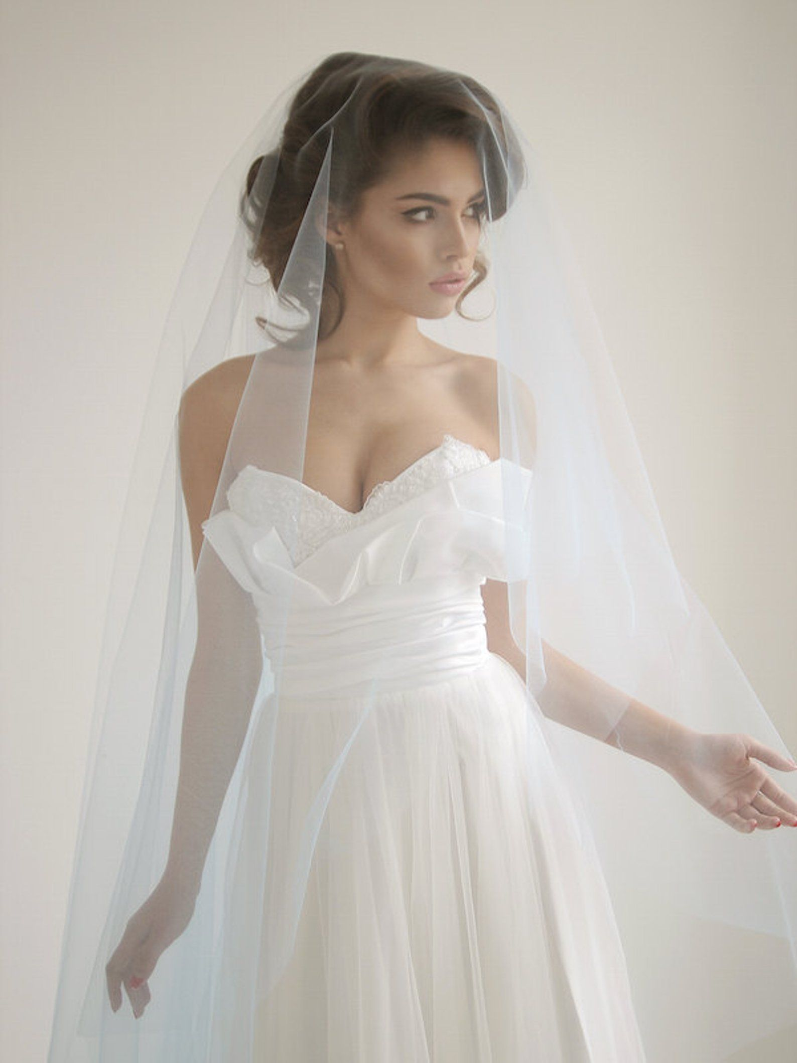 Blue cathedral wedding veil with blusher ivory cathedral