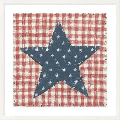 East Urban Home 'Americana Quilt II' Print is part of Framed wall art, Quilts, Removable wall decals, Painting prints, Wall art, Art -