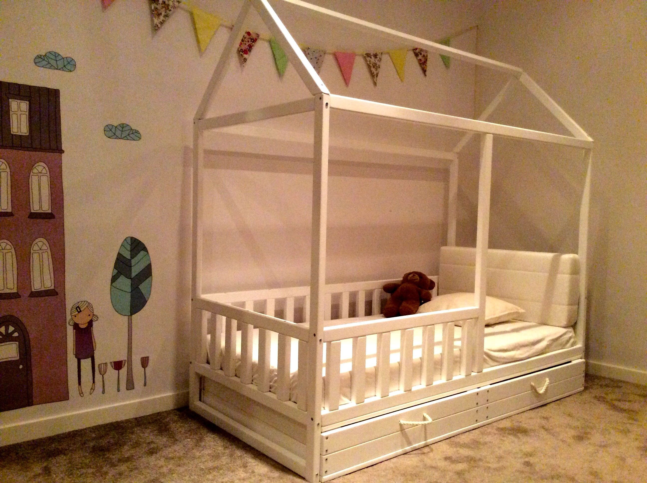 Painted Toddler Bed Children Bed Montessori Bed Kid Bed