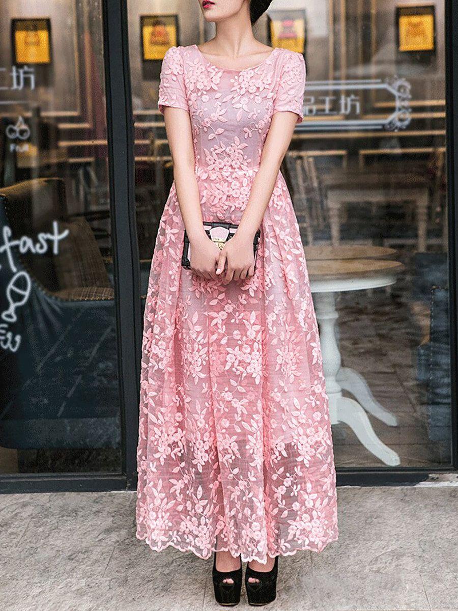 AdoreWe #StyleWe Maxi Dresses - so&soefom Pink Polyester Vintage ...