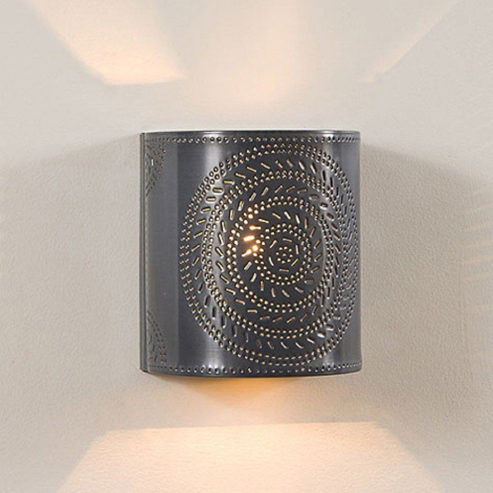 Punched Tin Sconce Lamp Handcrafted Chisel Pattern Wall Light In Country Or Rustic Finish