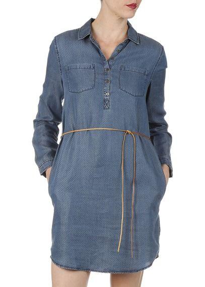 Robe droite Elvina fluide Bleu by HILFIGER DENIM | Robe droite, Mode, Robe