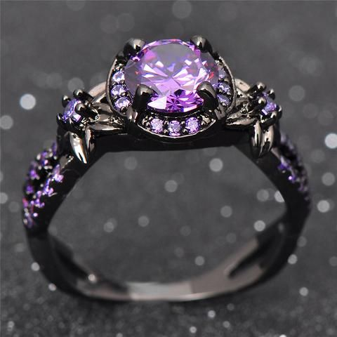 Black Gold Amethyst Ring Black Gold Jewelry Gothic Jewelry