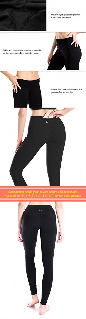 af3bb1018c Yogipace (Petite Length) Women s High Waisted Yoga Leggings Workout Active  Pants Back Pocket Black Size S