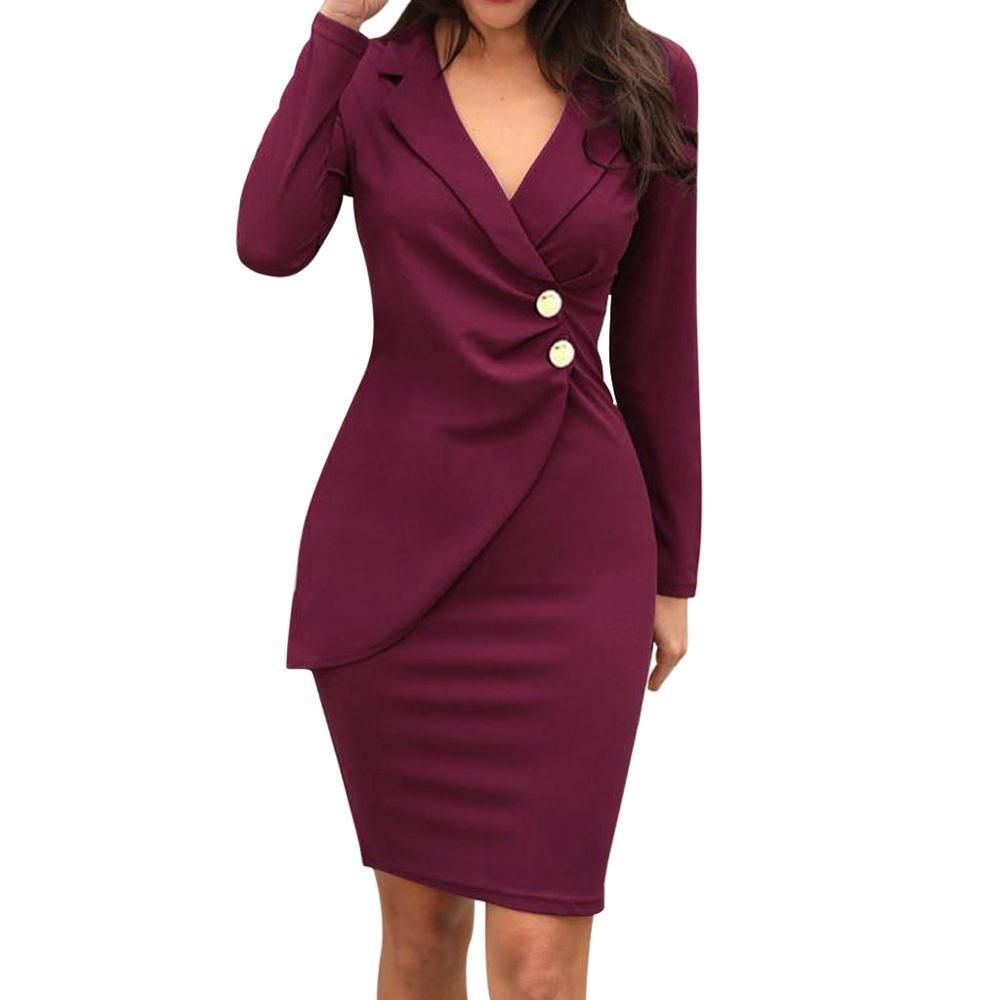 Women Office Long Sleeve Buttons Dress In 2021 Casual Work Dresses Bodycon Dress Casual Professional Dresses [ 1000 x 1000 Pixel ]